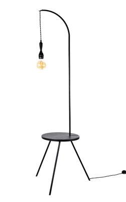Mobilier - Tables basses - Table d'appoint lumineuse Studio Simple / Ø 50 x H 160 cm - Serax - Noir - Bois plaqué, Métal