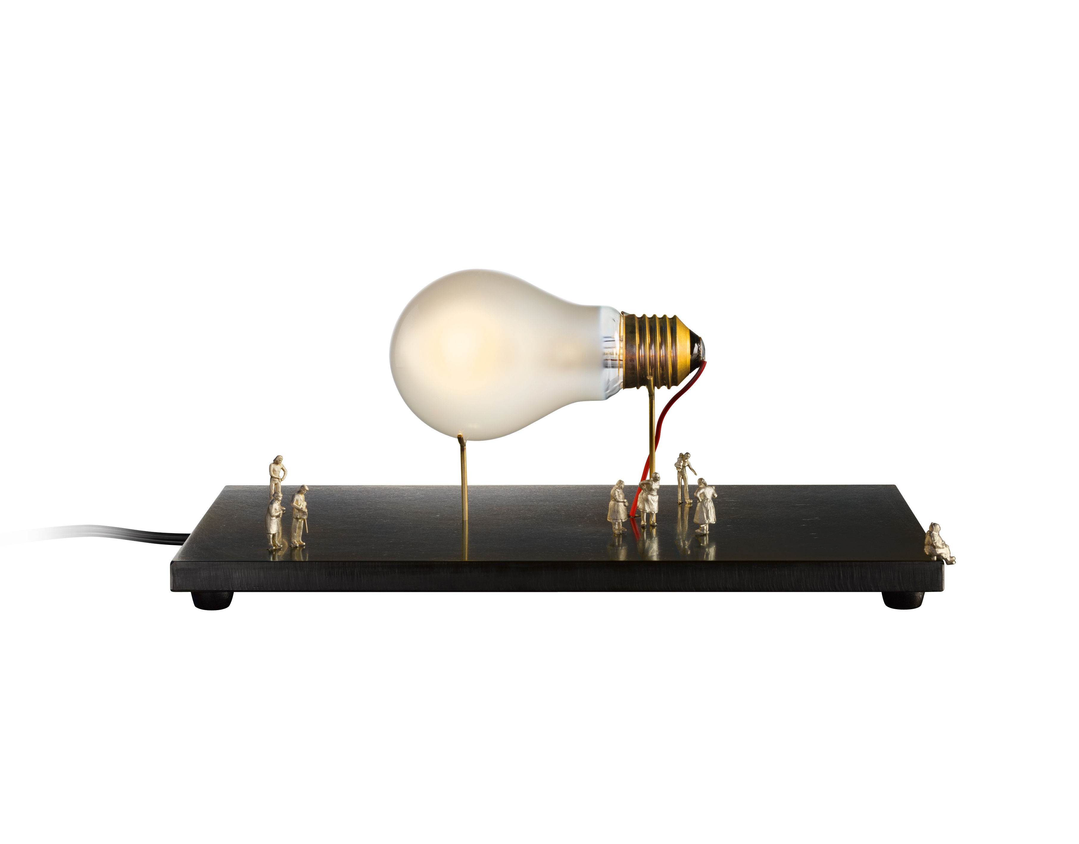 Lighting - Table Lamps - I Ricchi Poveri - Monument for a bulb Table lamp by Ingo Maurer - Black - Metal