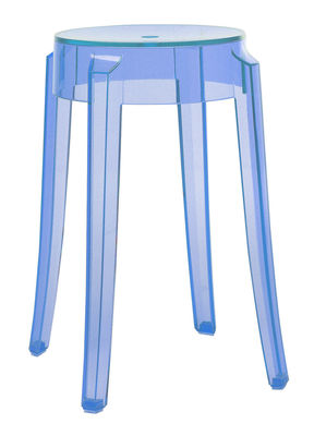 Tabouret empilable Charles Ghost H 46 cm / Plastique - Kartell bleu ciel en matière plastique