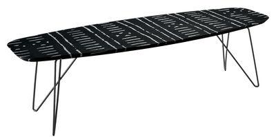 Arredamento - Tavolini  - Tavolino Ink - / 160 x 60 cm di Zanotta - Linee bianche / Fondo nero - Acciaio verniciato, MDF, Resina, Tessuto