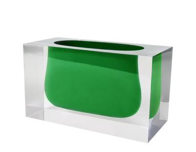Decoration - Vases - Bel Air Gorge Vase - / Acrylic - Rectangle H 12 cm by Jonathan Adler - Emerald green / Transparent - Acrylic