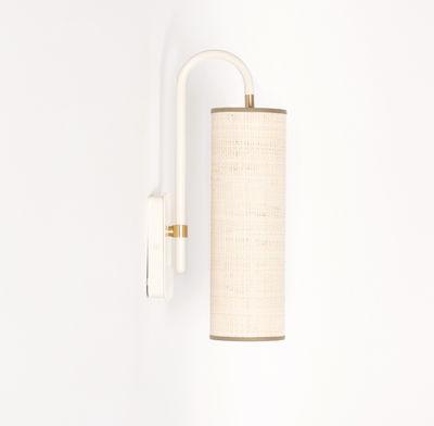 Lighting - Wall Lights - Tokyo Wall light - / Raffia - H 42 cm by Maison Sarah Lavoine - Natural raffia /  White - Powder coated steel, Raffia