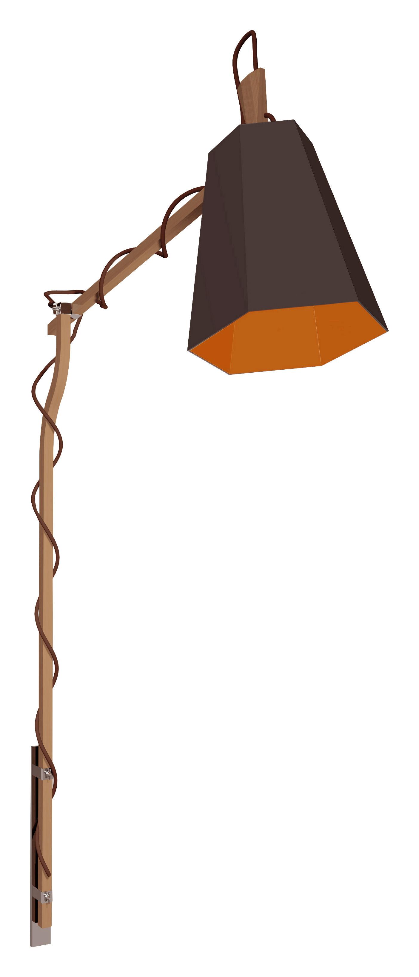 Leuchten - Stehleuchten - LuXiole Wandleuchte mit Stromkabel zum Befestigen an der Wand - H 223 cm - Designheure - Lampenschirm braun / Innenseite orange - Baumwolle, Buchenfurnier, lackierter Stahl