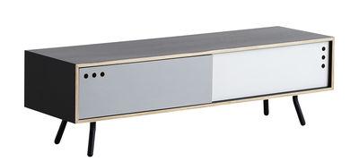 Geyma Low Anrichte / L 140 x H 42 cm - Woud - Weiß,Grau,Schwarz