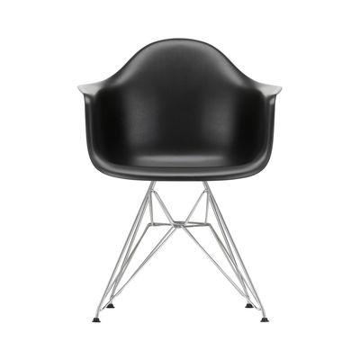 Furniture - Chairs - DAR - Eames Plastic Armchair Armchair - / (1950) - Chromed legs by Vitra - Black / Chrome legs - Chromed steel, Polypropylene