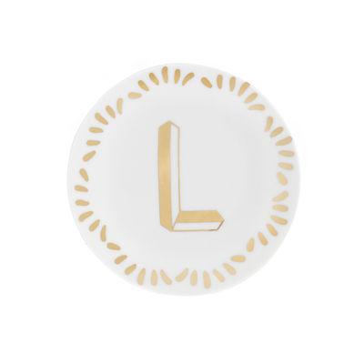 Arts de la table - Assiettes - Assiette à mignardises Lettering / Ø 12 cm - Lettre L - Bitossi Home - Lettre L / Or - Porcelaine