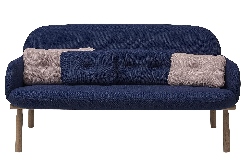 canap droit georges hart bleu marine coussins bleu rose l 146 x h 76 5 made in design. Black Bedroom Furniture Sets. Home Design Ideas