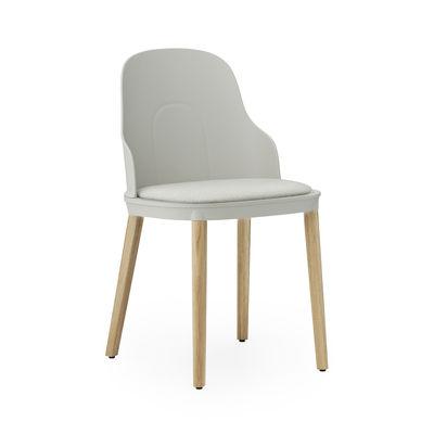 Furniture - Chairs - Allez INDOOR Chair - / Fabric seat - Oak legs by Normann Copenhagen - Grey (Camira fabric) / Oak legs - Fabric, Foam, Lacquered solid oak, Polypropylene