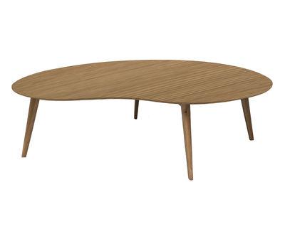Möbel - Couchtische - Lalinde Couchtisch XXL-Nierentisch / L 130 cm / Tischbeine Holz - Sentou Edition - Eiche / Tischbeine: holzfarben - eichenfurnierte Holzfaserplatte, Holz