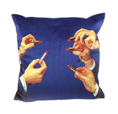 Decoration - Cushions & Poufs - Toiletpaper Cushion - / Lipsticks - 50 x 50 cm by Seletti - Lipsticks / Bleu - Feathers, Polyester fabric