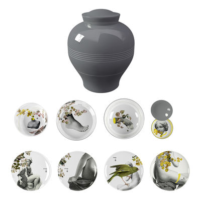 Tableware - Plates - Yuan Parnasse Dinner service - 8 stackable pieces by Ibride - Grey / grey-yellow patterns inside - Melamine