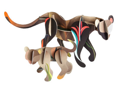 Decoration - Children's Home Accessories - Totem Figurine - Puma And Cub - Carboard by studio ROOF - Puma / Multicolored - Recycled cardboard