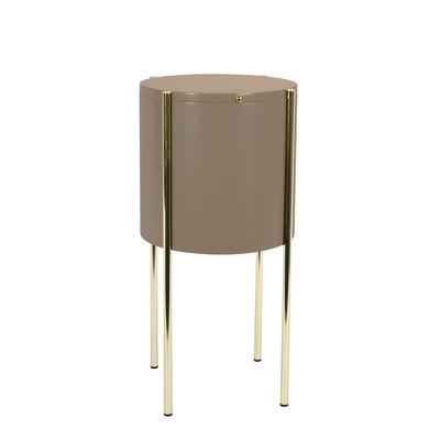Guéridon Embore / Coffre de rangement - Ø 40 x H 60 cm - ENOstudio marron en bois
