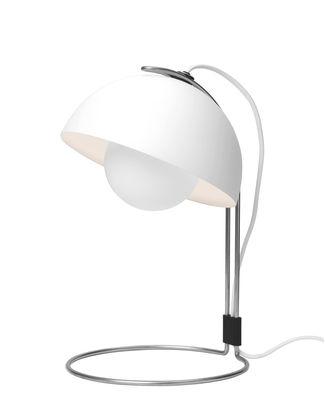 Illuminazione - Lampade da tavolo - Lampada da tavolo FlowerPot VP4 - / H 36 cm - By Verner Panton, 1969 di &tradition - Bianco - Alluminio laccato