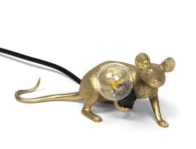 Interni - Per bambini - Lampada da tavolo Mouse Lie Down #3 - / Topo sdraiato di Seletti - Topo allungato / Dorato - Resina