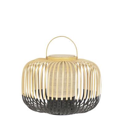 Luminaire - Lampes de table - Lampe sans fil Take A Way LED / Small - Ø 33 x H 35 cm - Recharge USB - Forestier - Noir / Naturel - Bambou