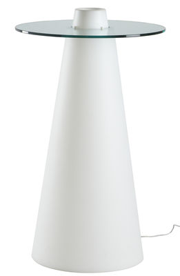 Furniture - High Tables - Peak Luminous high table by Slide - White / Transparent - Recyclable rotomoulded polyethylene, Soak glass