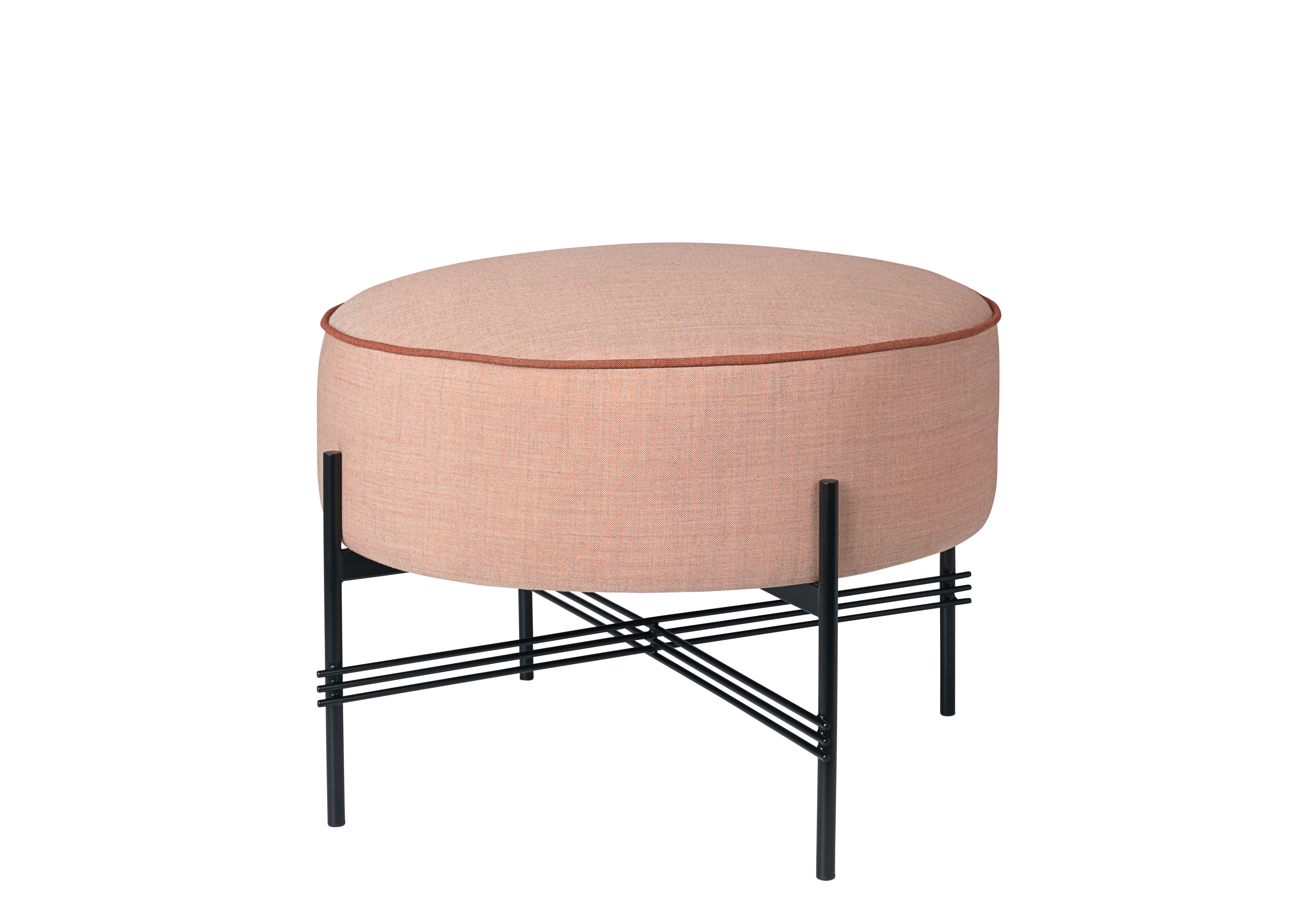 Furniture - Poufs & Floor Cushions - TS Pouf - Fabric/Gamfratesi - Ø 55 cm by Gubi - Ø 55 cm/Pink fabric - Fabric, Foam, Lacquered metal