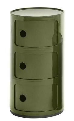 Rangement Componibili / 3 tiroirs - H 58 cm - Kartell vert kaki en matière plastique