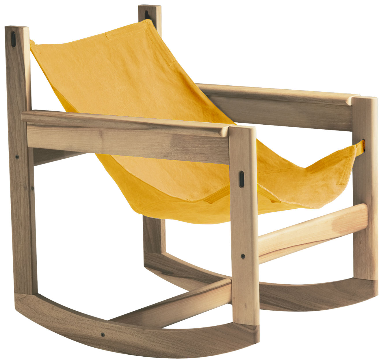 Furniture - Armchairs - Pelicano Rocking chair - Rocking chair by Objekto - Oak structure / Gold cover - Cotton, Oak