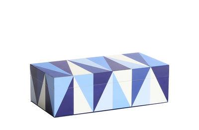 Interni - Scatole déco - Scatola Sorrento Small - / Legno laccato - 20 x 10 cm di Jonathan Adler - Small / Blu & Bianco - Legno laccato