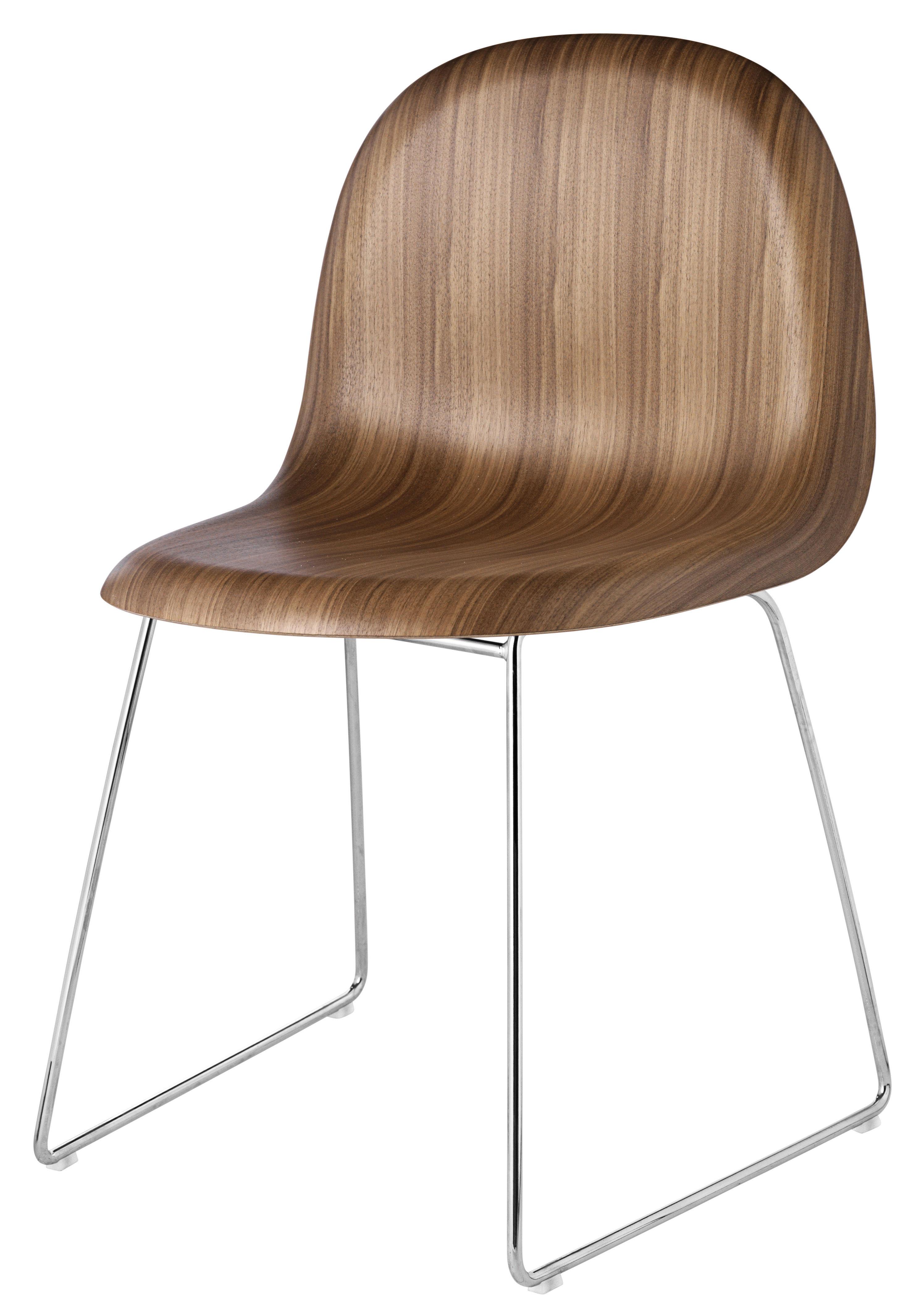 Möbel - Stühle  - 3D Stuhl Kufengestell - Schale aus Nussbaum - Gubi - Schale Nussbaum / Gestell verchromt - Nußbaumfurnier, verchromter Stahl