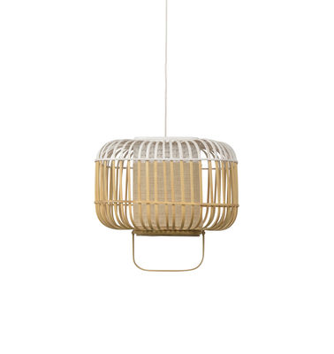 Suspension Bamboo Square / Small - H 34 cm - Forestier blanc/bois naturel en bois