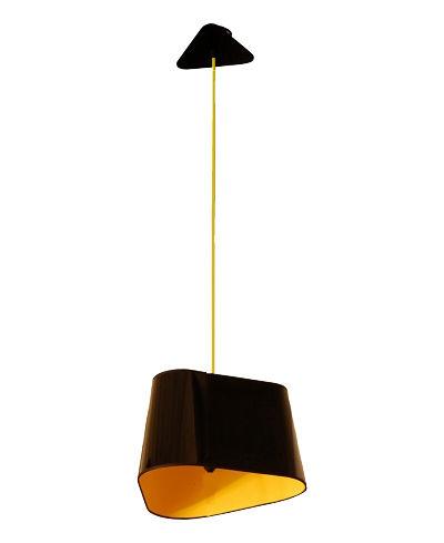 Luminaire - Suspensions - Suspension Grand Nuage L 43 cm / Version droite - Designheure - PVC noir laqué / Intérieur tissu jaune - Polycarbonate, Tissu