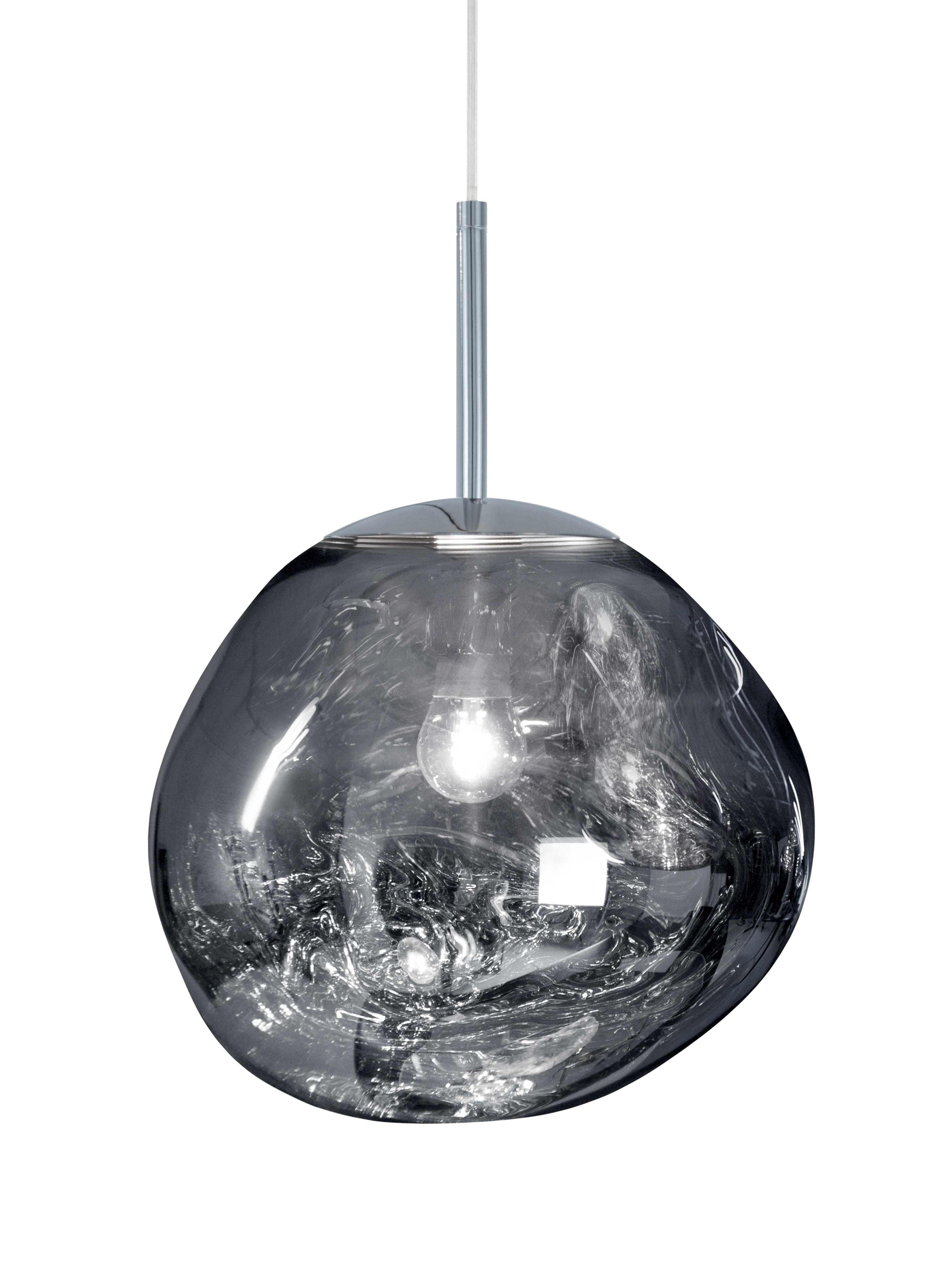 Luminaire - Suspensions - Suspension Melt Mini / Ø 27 cm - Tom Dixon - Chromé - Polycarbonate