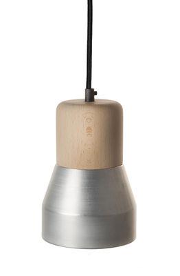 Suspension Steel Wood S / Bois & métal mat - Ø 13 cm - Spécimen Editions bois naturel,nickel satiné mat en métal