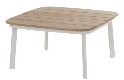 Mobilier - Tables basses - Table basse Shine / 79 x 79 cm - Emu - Blanc / Plateau teck - Aluminium verni, Teck