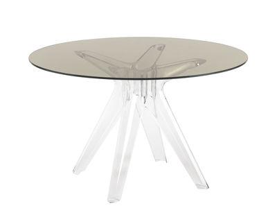 Table ronde Sir Gio / Verre - Ø 120 cm - Kartell gris/transparent en verre/matière plastique
