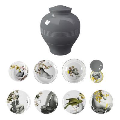 Tischkultur - Teller - Yuan Parnasse Tafelservice / 8-teilig, stapelbar - Ibride - Grau / Motive grau & gelb (Parnasse) - Melamin