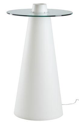 Arredamento - Tavoli alti - Tavolo bar alto luminoso Peak - / Ø 80 x H 120 cm di Slide - Ø 80 cm / Bianco & top trasparente - Polietilene riciclabile a stampaggio rotazionale, Vetro temprato