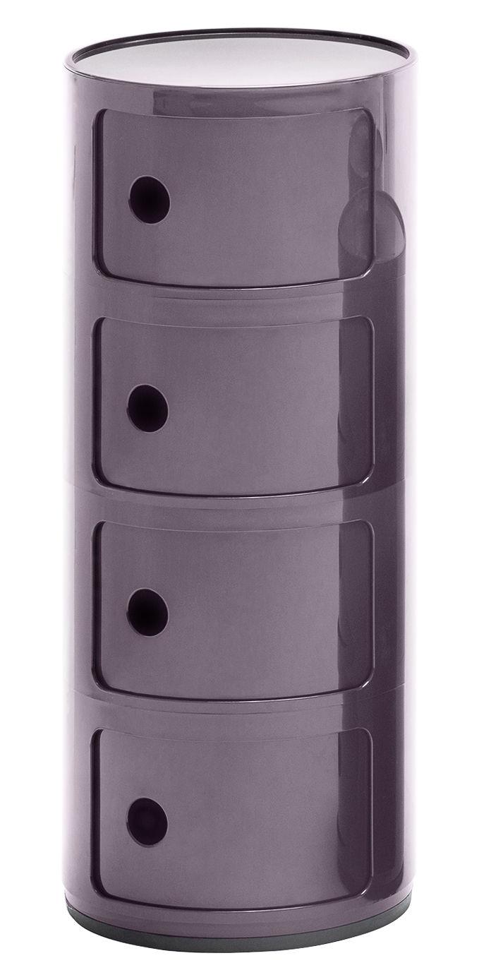 Möbel - Regale und Bücherregale - Componibili Ablage / 4 Fächer - H 77 cm - Kartell - Violett - ABS