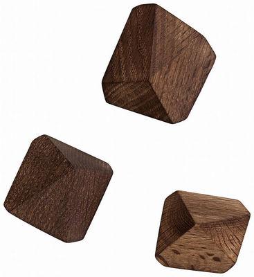 Arredamento - Appendiabiti  - Appendiabiti Diamond - / Set da 3 di Ferm Living - Rovere fumé - Rovere affumicato