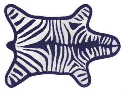 Accessoires - Accessoires für das Bad - Zebra Badteppich / Wendeteppich - 112 x 79 cm - Jonathan Adler - Weiß / marineblau - Baumwolle