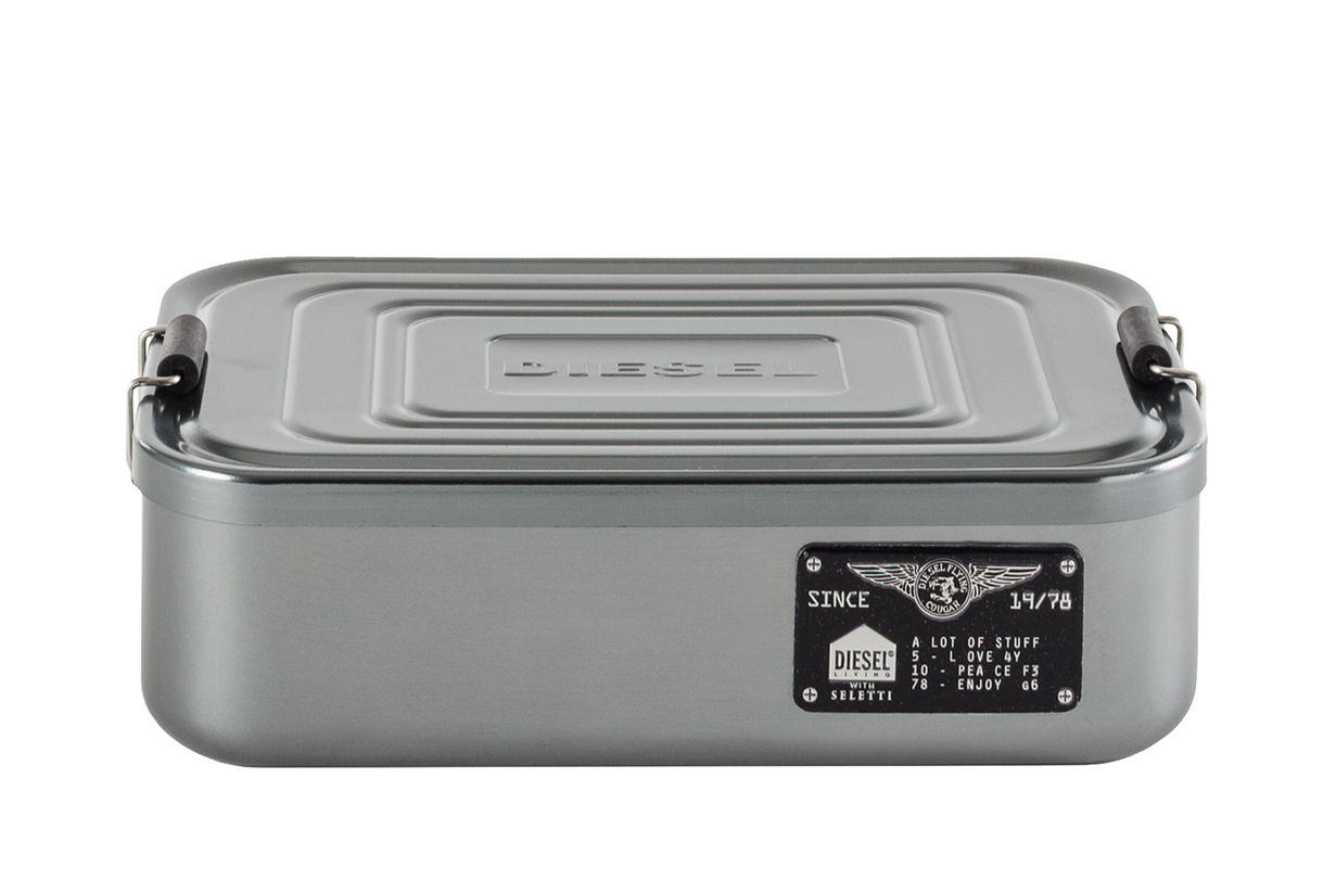 Kitchenware - Kitchen Storage Jars - Bento Large Box - / Metal - L 23 x H 7 cm by Diesel living with Seletti - Wide / Chromed - Chromed metal