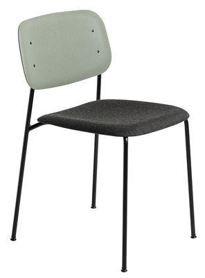 Mobilier - Chaises, fauteuils de salle à manger - Chaise empilable Soft Edge 10 / Bois & Tissu - Hay - Bois vert / Tissu anthracite - Acier laqué, Contreplaqué de chêne teinté, Tissu Kvadrat