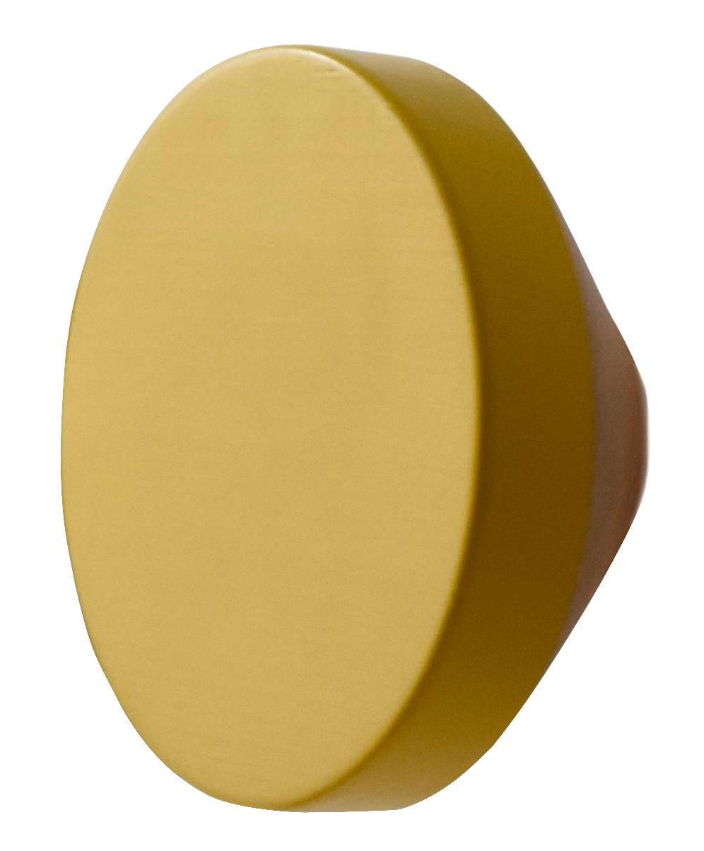 Furniture - Coat Racks & Pegs - Clou Hook - Ø 12 cm by ENOstudio - Mustard yellow - Natural beech, Painted beech