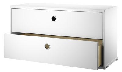Möbel - Regale und Bücherregale - String® System Kiste / mit 2 Schubladen - L 78 cm - String Furniture - Weiß - lackierte Holzfaserplatte, rostfreier Stahl