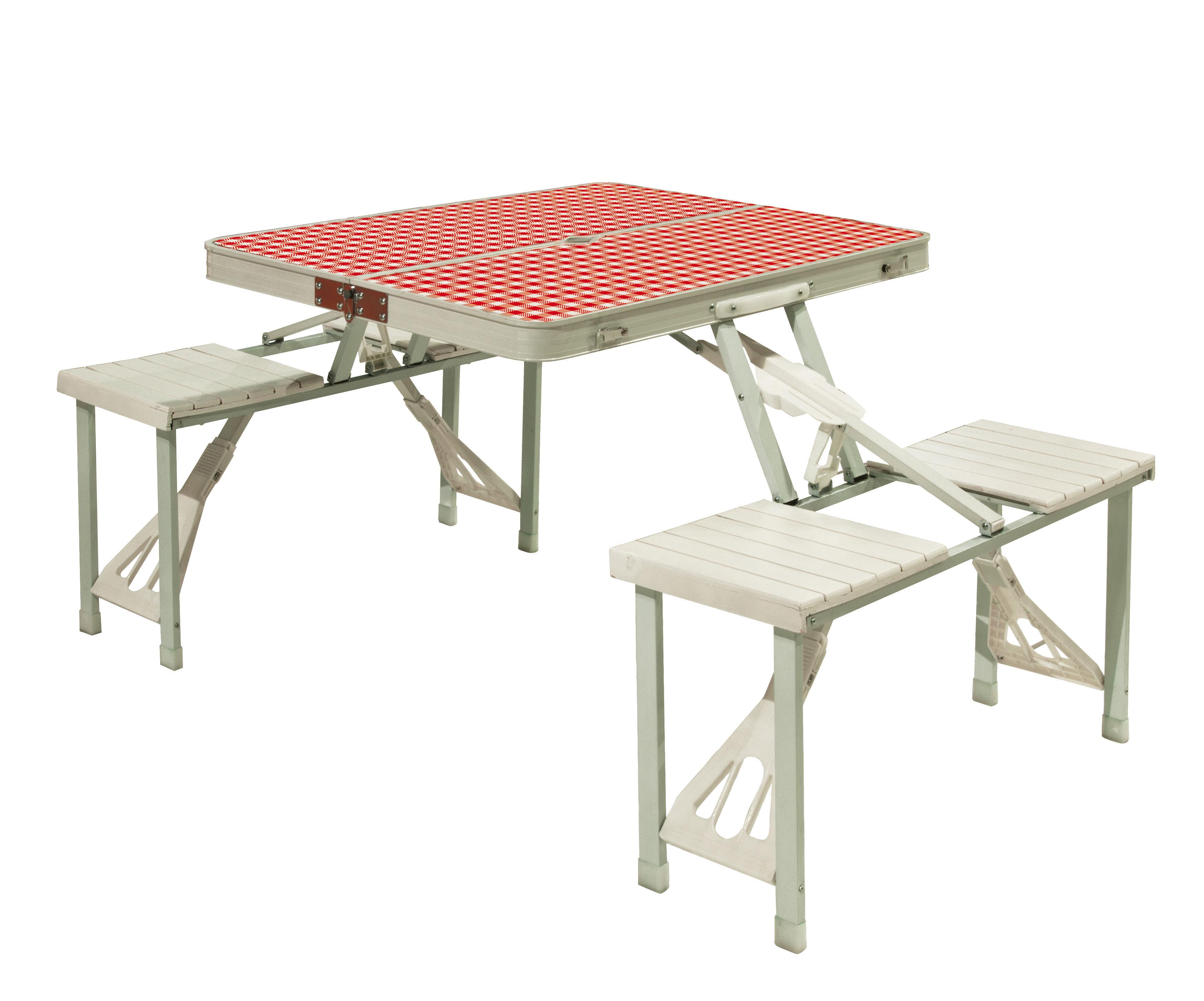 Outdoor - Tische - Festival Klapptisch / Picknick-Koffertisch mit Bänken - Seletti - Weiß & rot - Matériau plastique, Metall