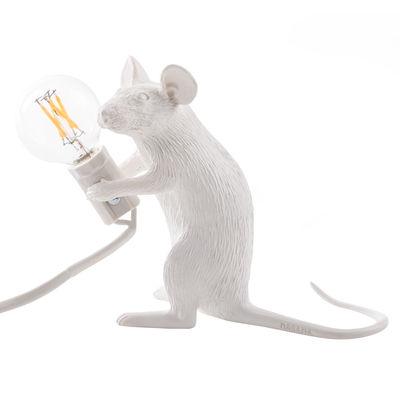 Interni - Per bambini - Lampada da tavolo Mouse Sitting #2 / Topolino seduto - Topolino seduto / Bianco - Resina