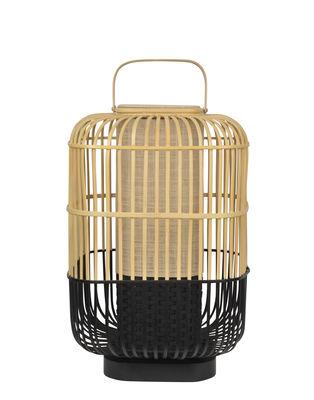 Lampe de table Bamboo Square / Large - H 65 cm - Forestier noir/bois naturel en bois