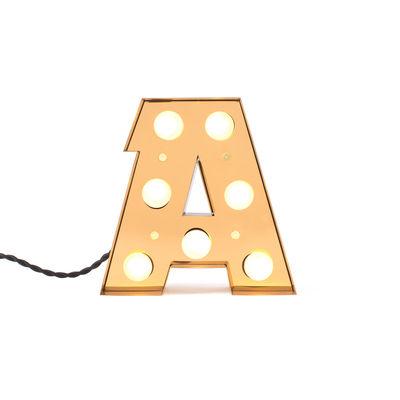 Lampe de table Caractère / Applique - Lettre A - H 20 cm - Seletti or brillant en métal