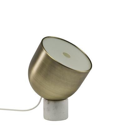 Luminaire - Lampes de table - Lampe de table Faro / Laiton & marbre - Ø 22 cm - Bolia - Marble blanc / Laiton - Laiton, Marbre, Textile
