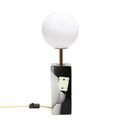 Lampe de table Toiletpaper - Two of Spades / Porcelaine & verre - H 70 cm - Seletti blanc,noir,or en verre