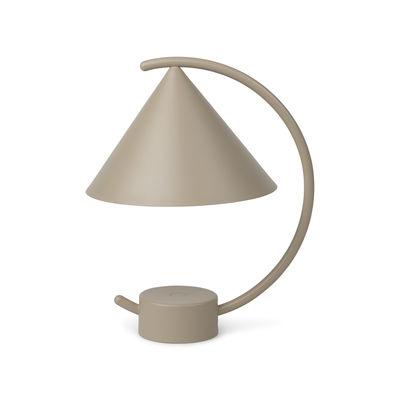 Luminaire - Lampes de table - Lampe sans fil Meridian LED / Métal - H 26 cm - Ferm Living - Beige Cachemire - Métal