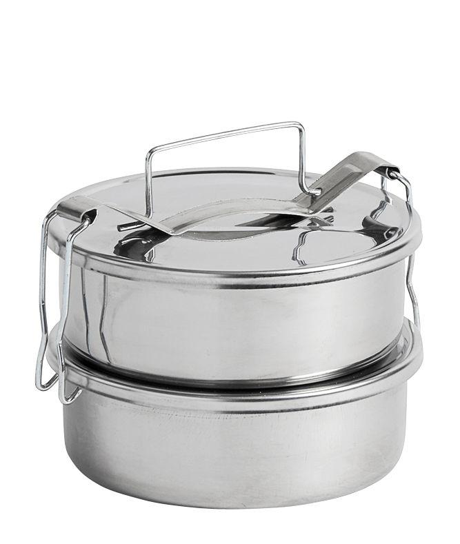Cuisine - Boîtes, pots et bocaux - Lunch box Pinic / 2 compartiments - Ø 13,5 cm - Hay - 2 compartiments / Acier - Acier inoxydable
