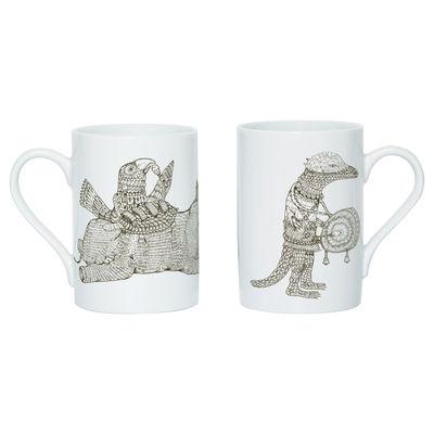 Tableware - Coffee Mugs & Tea Cups - Hivibes B Mug - Screen printed mug by Domestic - White & brown - China